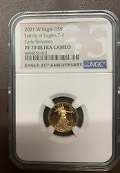 2021-w Proof 5 T-1 Gold Eagle 1/10 Oz. Ngc Pf70uc Early Releases Label