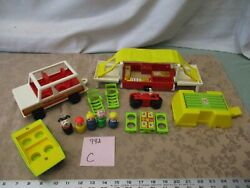 Vintage Fisher Price Little People Family Car Pop Up Camper 992 C Boat Cycle