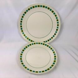 Pair Of Mikasa Cera Stone Mesa Green Blue Charger Plates 10.25 And 12 Wide