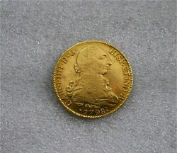 1798 Santiago 8 Escudos Chile Charles Iiii Spanish Gold Coin Doubloon Vf/xf