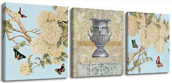 Bathroom Wall Art Decor Floral Butterfly Pictures on Canvas Prints 3 Panels for