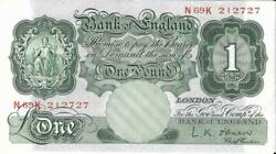 One Pound Green Banknote Cashier O'brien N69k Bank Of England Extra Fine