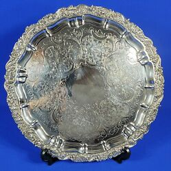 Barker Ellis England Silver Plated Ornate Round Serving Footed Tray 16.25 D