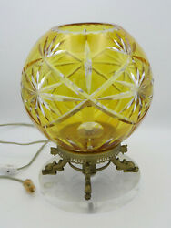 Vintage Cut To Clear Crystal Globe Table Lamp With Bronze Dolphin And Lucite Base