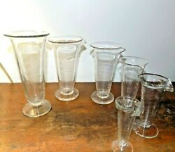 6 Antique Etched Apothecary Beaker Measure Glass 6.5-3 Lot Whitall Tatum Co
