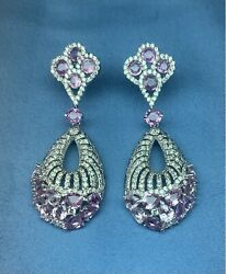 14 Kt. Solid White Gold , Diamonds , Pink Sapphire Dangling Earrings On Posts.