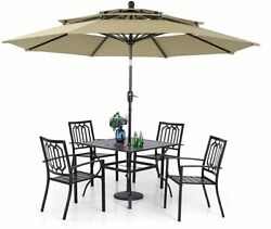 Outdoor Umbrella Patio Dining Furniture Set Chairs Table With Umbrella Hole 1.57