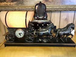 Vintage Horse Drawn Covered Wagon, 1950's United 550 Motion, Lamp And Clock Works