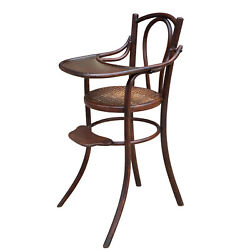 Antique German Bentwood Cane Seat Child's High Chair By Thonet
