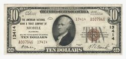 Mobile, Alabama Al 10 National Bank Note, 1929, Ty 2, Ch 13414