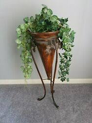 Vintage Metal Cone Shaped Plant Stand Holder