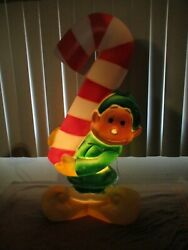 Vintage Santa's Elf Holding Candy Cane Lighted Christmas Blow Mold General 32