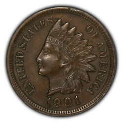 1901 1c Indian Head Small Cent - Au+ Strong Strike - Sku-z2365