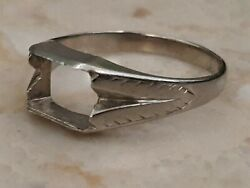 Very Old Setting Vintage White Gold Engagement Ring 10k Setting Yr1856 Size 10