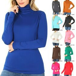Womens Turtle Neck Long Sleeve T Shirt Comfy Soft Top Warm Mock Casual Tunic $11.90