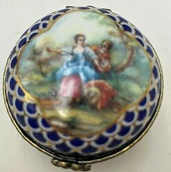 Orchid Designs England Fine Porcelain Classical Pattern Hinged Trinket/pill Box