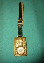 Vintage Watch Fob Advertising Happy Shoes Hamilton Brown W/ Compass On It