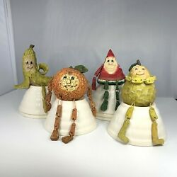 Lot Of 4 Vintage Anthropomorphic Fruit Shelf Sitters By Collections Etc.