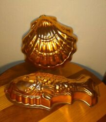 2 Vintage Copper Molds Fish And Scallop Shell Jello Cake Or Casserole Molds