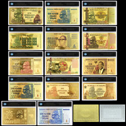 14pcs Zimbabwe Gold Banknote One Hundred Trillion Dollars With Plastic Card Gift