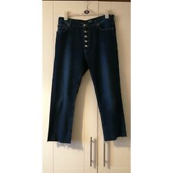 Womens Poco By Pippa Denim Cropped Distressed High Waist Jeans Size 16 Eur 44