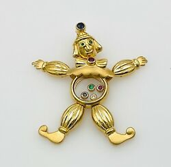 18k Yellow Gold Floating Diamond Ruby Emerald And Sapphire Clown Pendant Moveable
