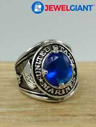 Silver-tone Costume Jewelry Ring Sz 9 Red, Blue Enamel And Stone Us Marines Bi657