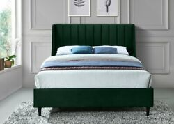 Deep Channel Tufting Wing Back Headboard Queen Size Bed Green Velvet Upholster