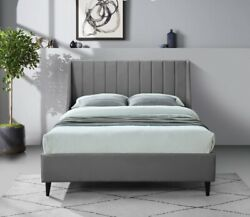 Deep Channel Tufting Wing Back Headboard Queen Size Bed Gray Velvet Upholster