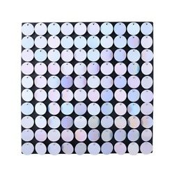 80x Sequin Wall Panel Party Decoration - Silver Irid Circle - 8ft X 10ft