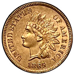 1865 Indian Head Penny Bronze Fancy 5, Red, Tough This Nice Uncertified