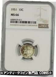 Gold Coin Silver Antique Coins 1951 10c Ngc Ms 66 Multi Color Tone 848