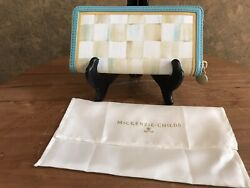 New Mackenzie Childs Parchment Check Zipper Billfold With Dustbag