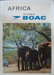 Boac Africa British Airways 1967 Travel Airlines Poster 20x30 Elephants Linen Nm
