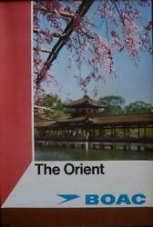 Boac The Orient British Airways 1971 Travel Airlines Poster 20x30 Linen Nm