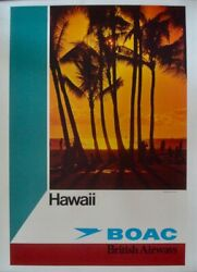 Boac Hawaii British Airways 197a Travel Airlines Poster 20x30 Sunset Linen Nm