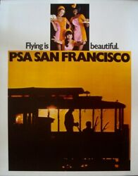 Pacific Southwest Airlines San Francisco 1971 Travel Poster 20x28 Linen Nm