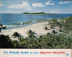 Pan Am Airways Airlines South Pacific Vintage 1965 Travel Poster 34.5x44 Nm