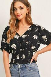 Puff Sleeve Smocked Waist Surplice Top Floral Blouse Womenand039s Sizes S M L Black