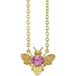 14k Yellow Gold Pink Sapphire Bee Necklace