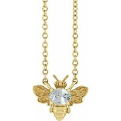 14k Yellow Gold White Sapphire Bee Necklace