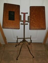 Antique L.w. Noyes Chicago   Book Dictionary Music Stand Wood Wheels Vintage