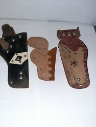 Lot Of 3 Vintage Toy Cap Gun Pistol Leather Holster Studded Brown And Black