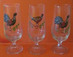 3 Vintage Game Bird Glasses Black Grouse And Pheasant, High 6 1/3
