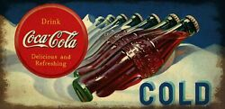 Coca Cola Bottles In Snow Heavy Duty Usa Made Metal Soda Pop Advertising Sign