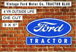 Vintage Ford Motor Co. Tractor Blue Laminated Vinyl Decal Sticker