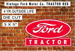Vintage Ford Motor Co. Tractor Red Laminated Vinyl Decal Sticker