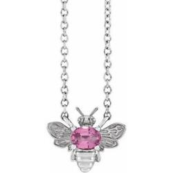 14k White Gold Pink Sapphire Bee Necklace