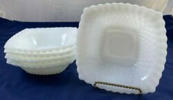 Set Of 5 Anchor Hocking Milk Glass 6 Square Diamond Pattern Candy Dishes Bowls