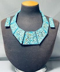 Best Turquoise Stone Mosaic Sterling Silver Native American Necklace
